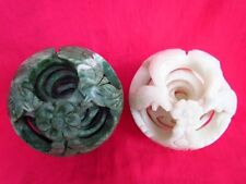 2 PCS Wonderful Handcraft Carved 6 Layers of Jade Puzzle Spheres Ball W/ Stands