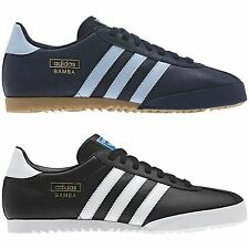 ADIDAS ORIGINALS BAMBA TRAINERS BLACK BLUE SHOES SNEAKERS SIZE 7 - 12 RETRO BNWT