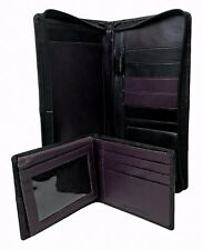 Genuine Leather Document Travel Holder with Matching Wallet ID card, Black