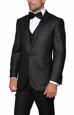 Mens Black Diamond Weave One Button Three Piece Wool Blend Tuxedo Suit