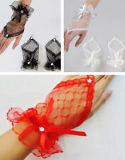 Lace Evening Wedding Bridal Bow Fingerless Gloves Wrist Dress Short Party