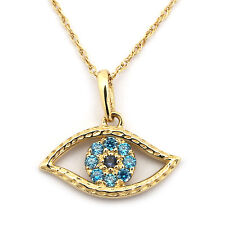 14k Yellow/White Gold Simulated Sapphire & Blue Topaz Evil Eye Pendant Necklace
