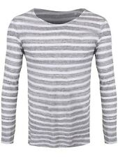 Long Sleeve Organic Striped & White T-Shirt Men's Grey Long-sleeve T-Shirt