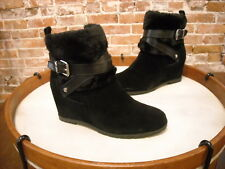 Marc Fisher Trevis Black Suede Faux Fur Wedge Ankle Boots NEW