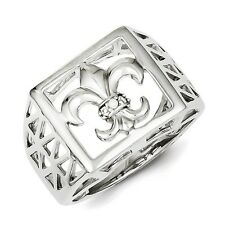 Sterling Silver Fleur-De-Lis & Clear CZ Men's Ring 4.86 gr Size 9 to 11