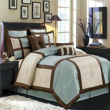 12pc Elegant Morgan Blue Brown Luxury Bedding Comforter Set AND Sheet Set