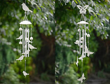 Windchime Cream Bird or Butterfly Vintage Shabby Chic Mobile Garden Ornament New