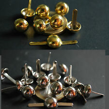 50x 12mm 10mm 8mm Silver Gold Tone Round Dome pin STUDS Leather Denim Craft DIY