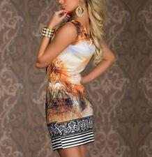 Vintage Dress Retro Sleeveless Print Mini Sexy Flower Feather Chain Women Dress