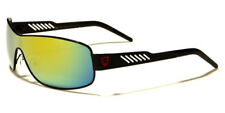 COLORED MIRROR LENS KHAN SHIELD MEN'S SUNGLASSES