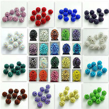 20PCS Czech Crystal Rhinestones Pave Clay Round Disco Ball Spacer Beads 8mm~12mm