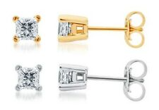 Solid 14k White or Yellow Gold Princess iamond Solitaire Studs Earrings 1.50 ct