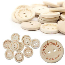 100X Handmade With Love Buttons Scrapbooking Sewing Wood Button 25mm 20mm 15mm B