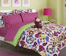 NEW Twin Full Bed Black Pink Hearts Green Monkey 6 pc Comforter Sheets Plush Set