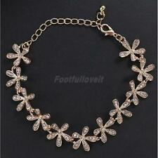 Fashion Crystal Snowflake Charm Chain Bangle Bracelet Jewelry Gift -Gold/Silver