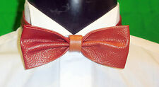 100 % Real Leather Tan Colour Bow Tie. Unique, Exclusive & Elegant. From £16.99