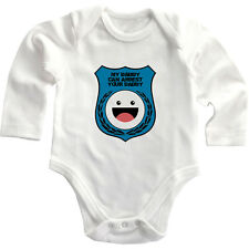 Blue Police Badge My Daddy Can Arrest Daddy Long Sleeve Baby Bodysuit One Piece
