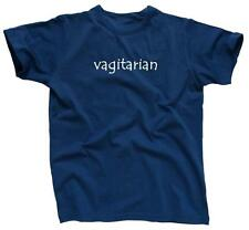 VAGITARIAN Funny College Party Tee Rude Humor Lesbian - T-Shirt - NEW - Blue