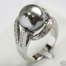 12mm Women's Gray South Sea Shell Pearl Gemstone Jewelry Ring Size 7/8/9 AAA