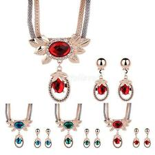 Party Bridal Women Crystal Rhinestone Pendant Alloy Necklace Earring Jewelry Set
