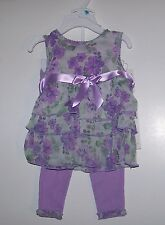 NWTS GUESS BABY PURPLE FLORAL RUFFLE DRESS/LEGGING SET 3, 6, 9MO  DRESSY NEW