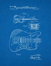 Clarence Fender Electric Guitar Patent Print Blueprint