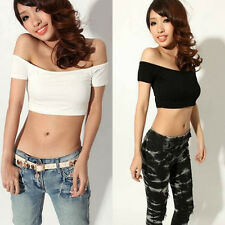 Sexy Womens Off The Shoulder Slim Fit Sleeveless Bardot Lady Crop Top T Shirt