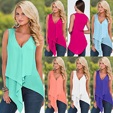Sexy Womens V Neck Sleeveless Chiffon Irregular Hem Tank Top Vest Shirt Blouse