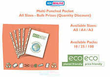 A5/A4/A3 GLASS CLEAR POLY PUNCHED POCKETS STRONG PLASTIC WALLETS ecoeco Recycled