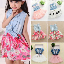 Toddler Kids Baby Girls Denim Tulle Vest Skirt Tutu Dress Party Sundress 1-8 Y