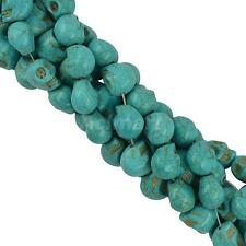 Halloween Turquoise Carved Skull Design Jewelry Making Spacer Beads Blue