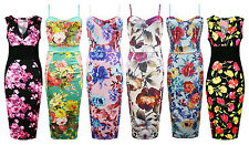 Womens Ladies Plus Size Celeb Inspired Floral Tropical Cami Midi Bodycon Dress