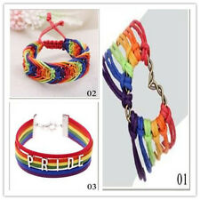 Gay Love Pride LGBT Flag Charm Braid Rainbow Lesbian Valentine's Gifts Bracelet