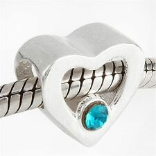 925 Sterling Silver Heart Shaped Charm Bead With Turquoise Coloured (CZ) Stones.