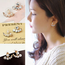 Women's Fashion Elegant Pearl Crystal Rhinestone Alloy Ear Stud Earrings Jewelry