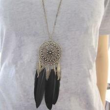 BOHO Charm Feather Leaf Tassel Bronze Plated Pendant Long Chain Necklace