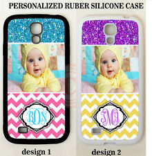 PERSONALIZE CUSTOM PHOTO PINK YELLOW CHEVRON CASE For Samsung Galaxy S8 S7 NOTE