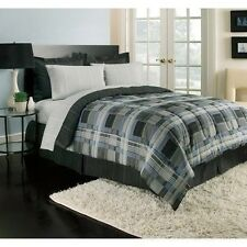 NEW Twin Full Queen King Bed Bag 8 pc Blue Gray Black Plaid Comforter Sheets Set