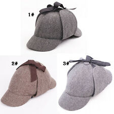 Stylish Mens Retro Country Wool Tweed Deerstalker Hat Hunting Cap with Ear Flaps