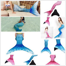 Women's 3pcs Mermaid Tail Monofin Flipper Swimable Costume Swimwear Top Panties