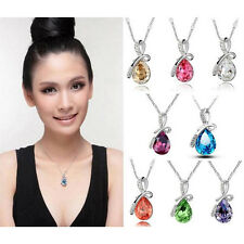 1x Fashion White Gold Plated Crystal Eternal Love Teardrop Pendant Necklace ZIK