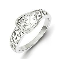 Sterling Silver .01 CT Diamond Buckle Scroll Band Ring 2.52 gr Size 6 to 8