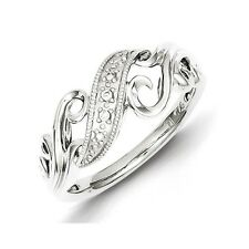 Sterling Silver .02 CT Diamond Scroll Style Band Ring 2.48 gr Size 6 to 8