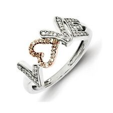 Sterling Silver & 14k Rose Gold .15 CT Diamond Love Word Ring Size 6 to 8