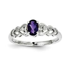 Sterling Silver February Birthstone Amethyst & .02 CT Diamond Ring Size 5 to 10