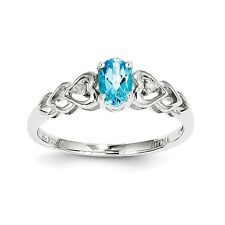Sterling Silver December Birthstone Blue Topaz .02 CT Diamond Ring Size 5 to 10