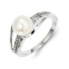 Sterling Silver FW Cultured Pearl & 0.04 CT Diamond Ring 2.70 gr Size 6 to 9