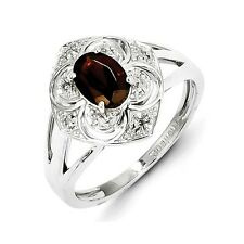 Sterling Silver Oval Garnet & 0.05 CT Diamond Ring 2.84 gr Size 6 to 8
