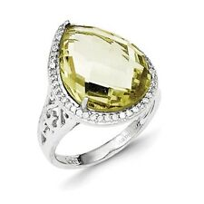 Sterling Silver Pear Cut Lemon Quartz & Clear CZ Ring 4.91 gr Size 6 to 8