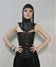 """Black Leather Overbust Corset Boned Sweetheart Gothic   22"""" 24"""" 26"""" 28"""" 30"""""""